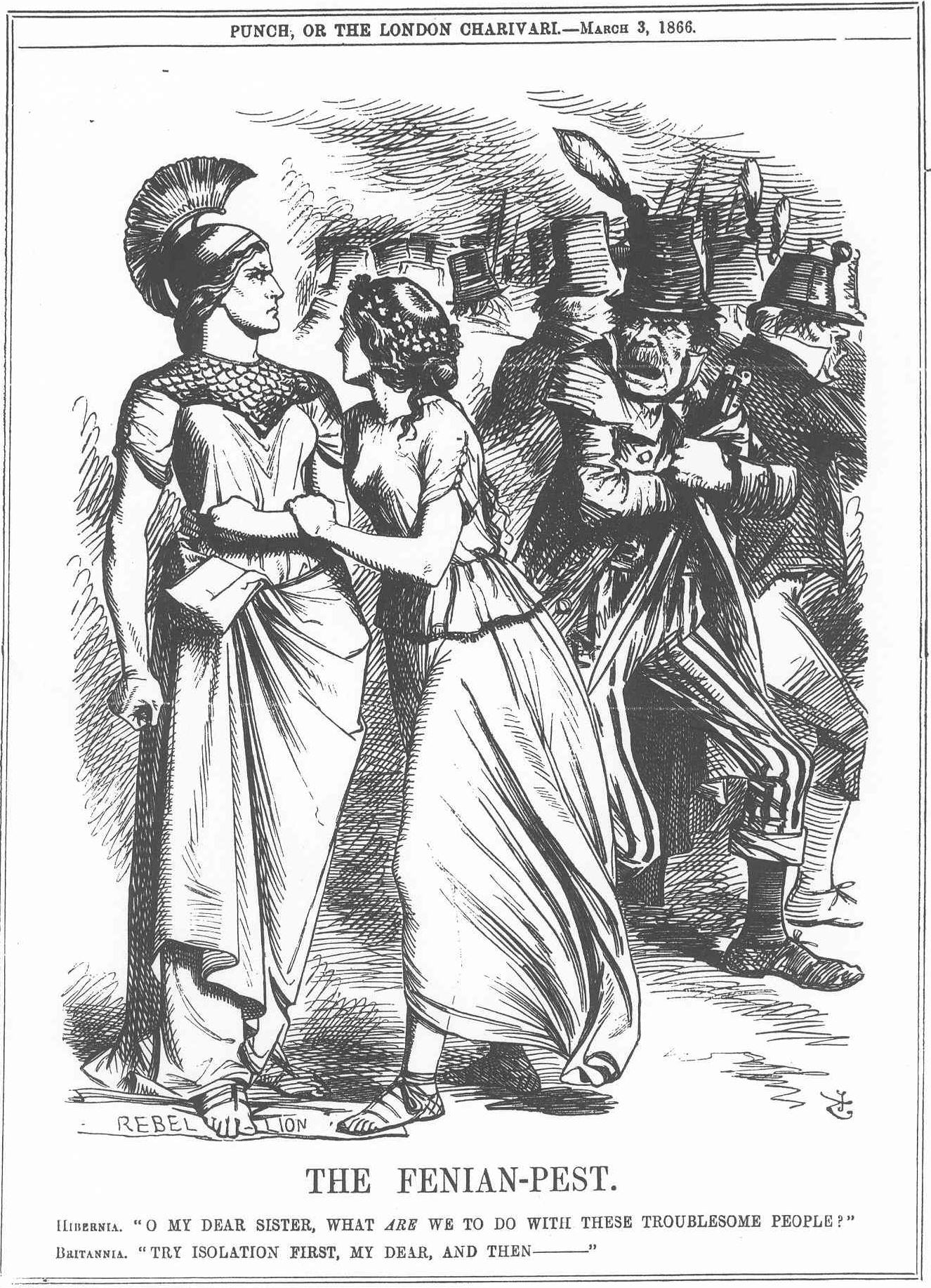 Figure 1. Punch.—March 3, 1866. The Fenian-Pest.