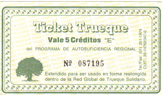 Figure 1. A trueque club receipt (a barterable chit or scrip). Front.